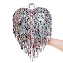 Gland strass sac de soirée bague de doigt diamants de mariage en forme de coeur jour embrayages sacs à main chaîne épaule fête perle sacs