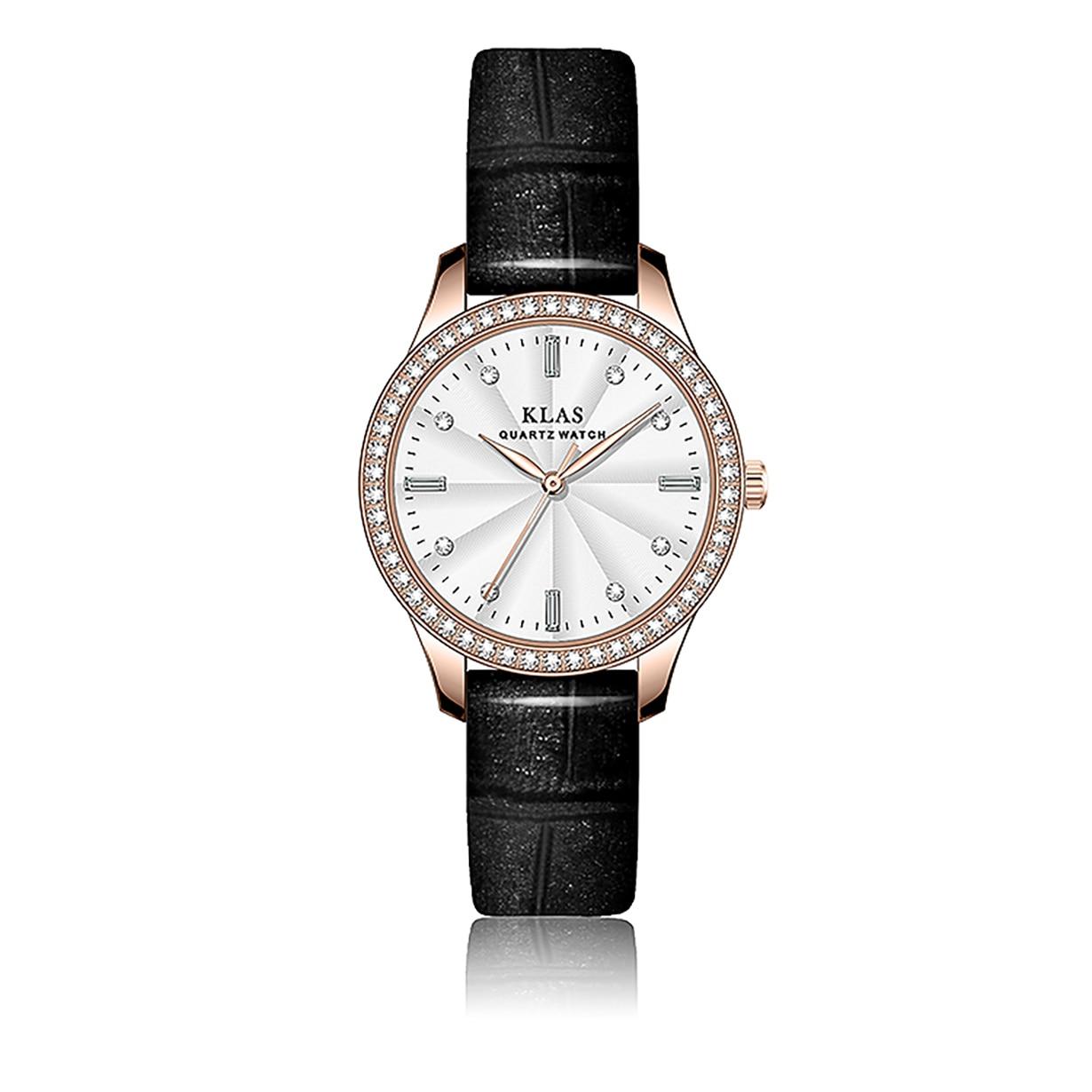 ساعة كوارتز نسائية 30 م مقاوم للماء ساعات مخصصة KLAS العلامة التجارية ساعة للبنات