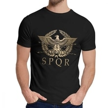 SPQR Roman Empire Standard Shield Tee Shirt Crewneck Picture Custom Mans Retro Free Shipping US Size S-6XL Big Size T Shirt