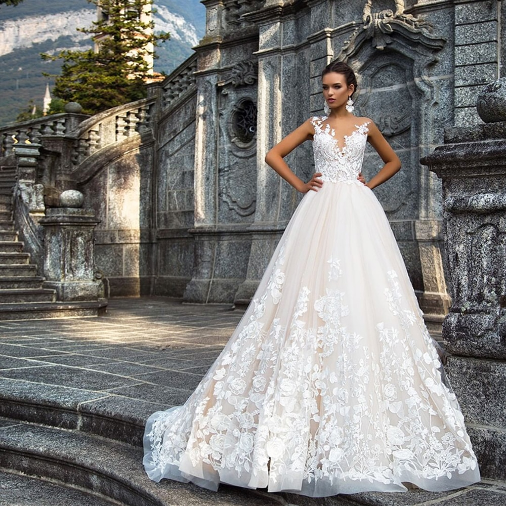 Review Sexy lace Wedding Dress Plus Size Vestido de Noiva Princesa Appliques Tulle Vintage Robe de Mariee Backless Sukienka Slubna