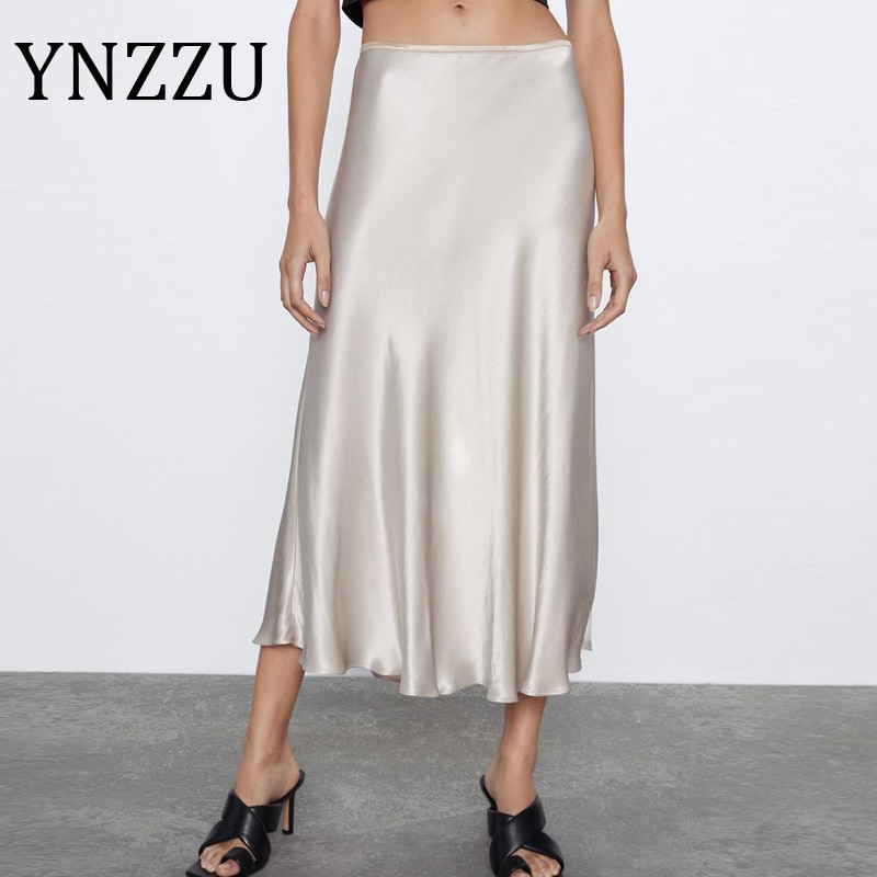 Ynzzu elegante cetim de seda midi saias das mulheres 2020 verão brilhante cintura alta feminino a linha saias alta qualidade ab313