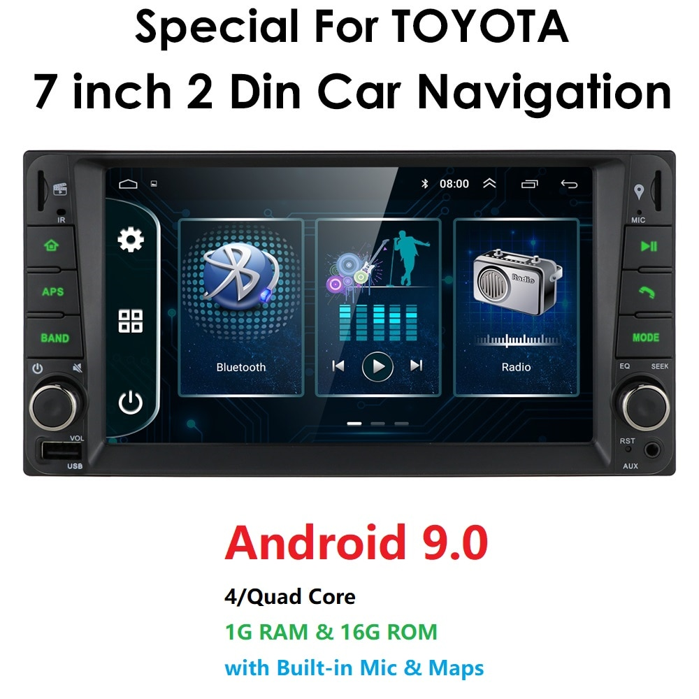 2 din android 9,0 coche Universal reproductor Multimedia reproductor de Radio para coche estéreo para toyata VIOS corona CAMRY HIACE PREVIA COROLLA RAV4