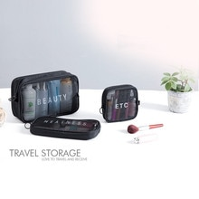 Portable Travel Cosmetic Bag Women Zipper Mesh Make Up Transparent Makeup Organizer Storage Pouch To