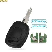Jingyuqin télécommande voiture complète porte-clés demander PCF7946 puce 433mhz pour Renault Master Kangoo Clio Twingo NE72 lame 1 bouton boîtier