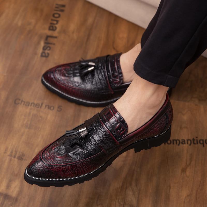 Zapatos con borlas De cocodrilo Para Hombre, calzado Formal sin cordones, De...