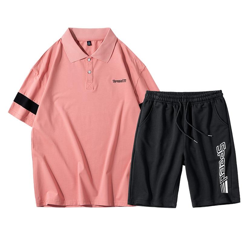 Conjuntos de verão dos homens manga curta impressão agasalho masculino casual 2 peças conjunto camisa polo + shorts roupas masculinas fino terno esportivo