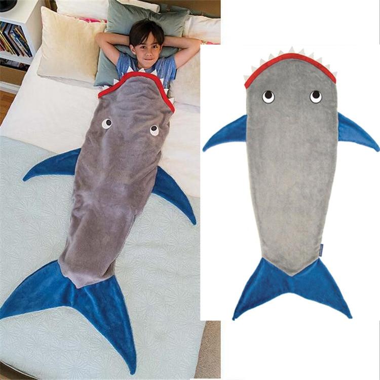 القرش مزدوجة الفانيلا بطانية حورية البحر الأطفال كيس النوم بطانية حورية البحر الذيل بالجملة يمكن ارتداؤها