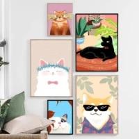 Toile de dessin anime aquarelle  chat chien  peinture murale  Art nordique  affiche animale imprimee  image pour chambre denfants  filles  garcons  decor doux pour la maison