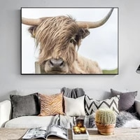 printed wall art cow poster canvas art animal posters and prints art nordic high definition decor wall picture for living room
