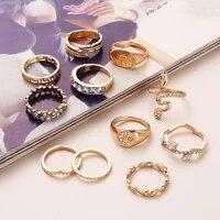 11pics gold rings bohemia animal vintage set rings goth fashion cool knuchle ring for woman geometric retro female jewelry