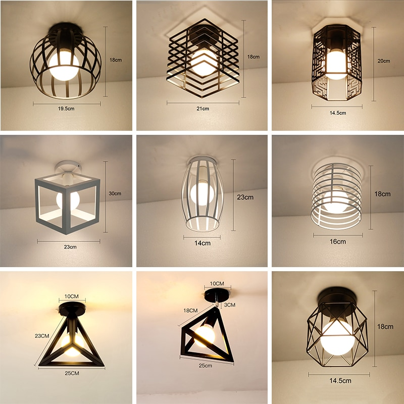 Luces de Techo LED, lámpara de Techo moderna, iluminación para el hogar, lámpara de Techo tipo jaula Vintage para sala de estar, lámpara de Techo, lámpara colgante E27