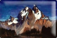 metal plate tin sign art paintings with mountain and lake snow