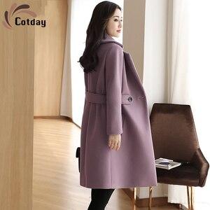 Хлопковое свободное повседневное шерстяное пальто, женская модная зимняя одежда средней длины, новинка 2021, утепленные пальто в Корейском с...