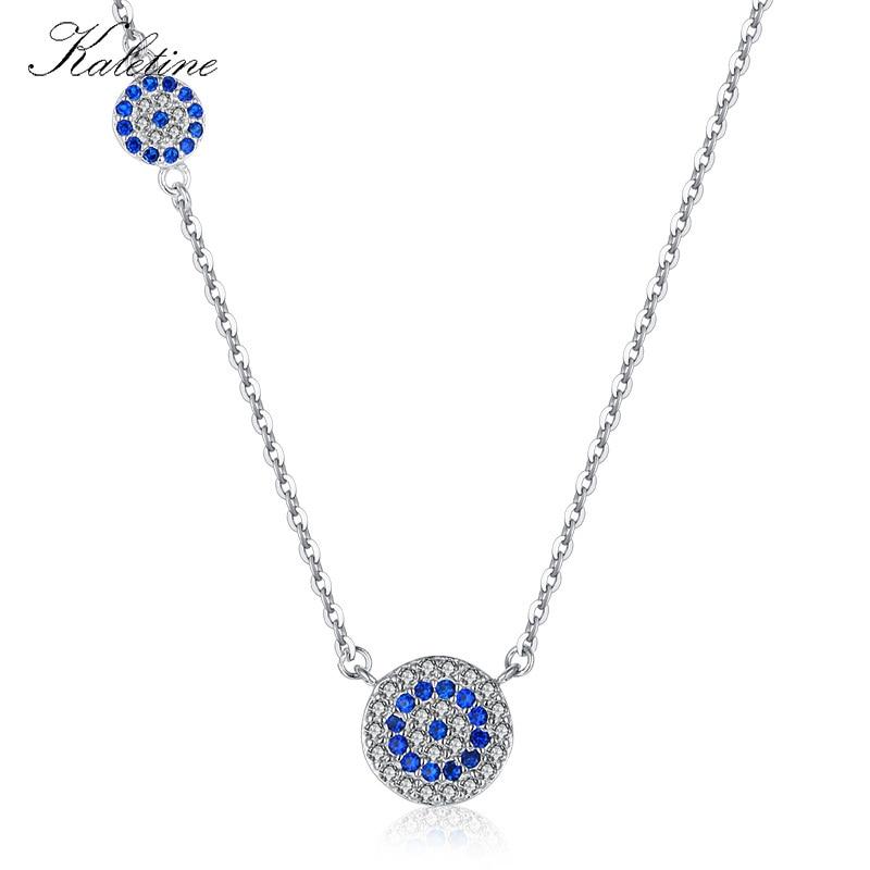 KALETINE de moda de Plata de Ley 925 collar de mal de ojo azul CZ del encanto del ojo malvado de mujer largo collar eslabón de colgante cadena KLTN042