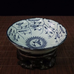 Chinese Old Porcelain Blue And White Flower Pattern Lace Bowl