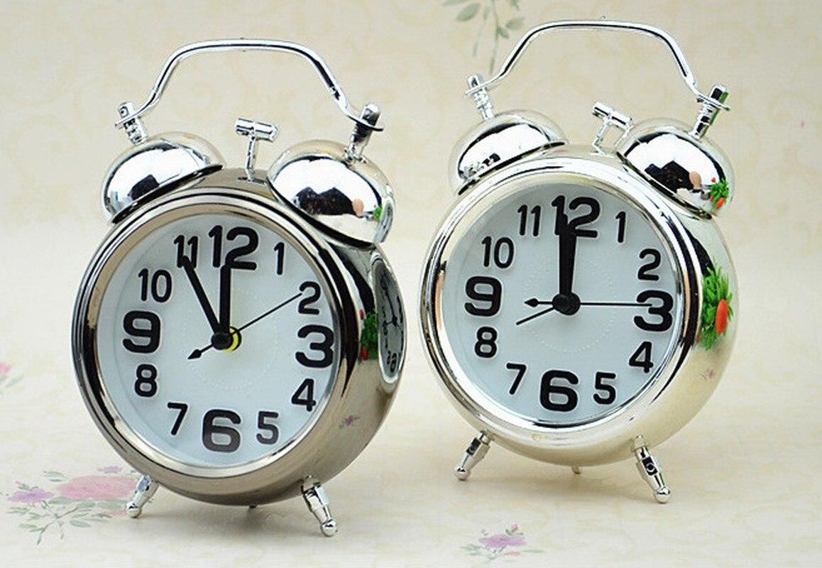 Timbre fuerte Dual redondo con números, reloj despertador con luz de noche junto a la cama, decoraciones para el hogar, reloj despertador Vintage Retro, relojes con puntero silencioso
