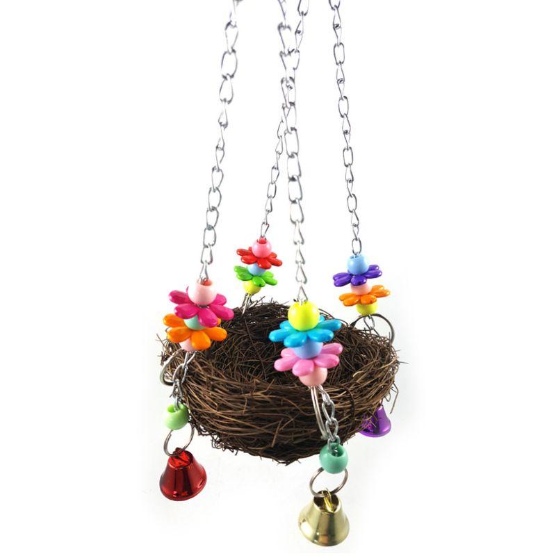 Parrot Birds Nest Small Pet Toy Bird Rattan Bite Swing Stand Birdcage Accessory U90A