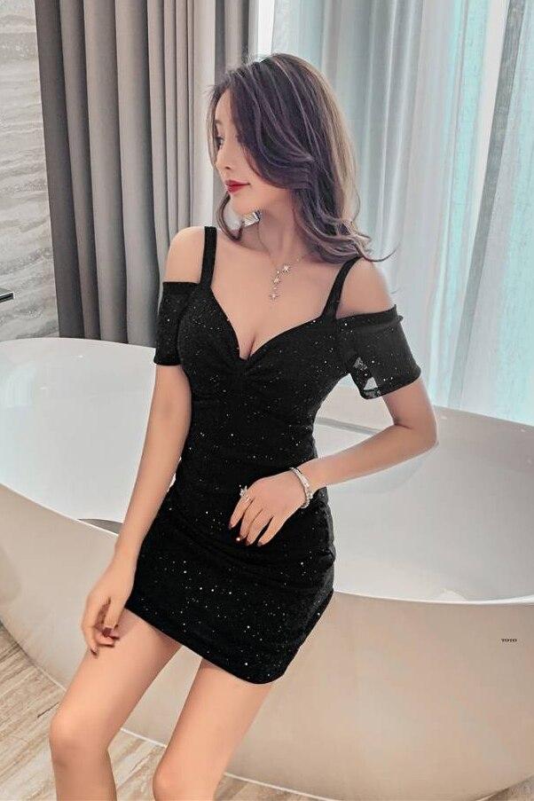 Vestido adelgazante ajustado con hombros descubiertos, tirantes sexys con cuello en V, novedad de verano 2021