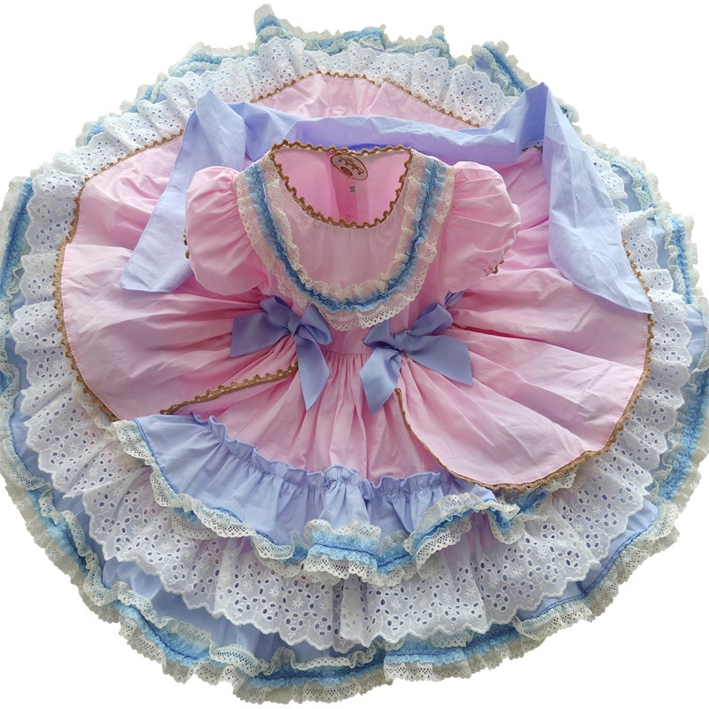 3PCS Girl Princess Dreess Baby Kid Lolita Spanish Style Children Party Layered Ball Gown High-End Custom enlarge