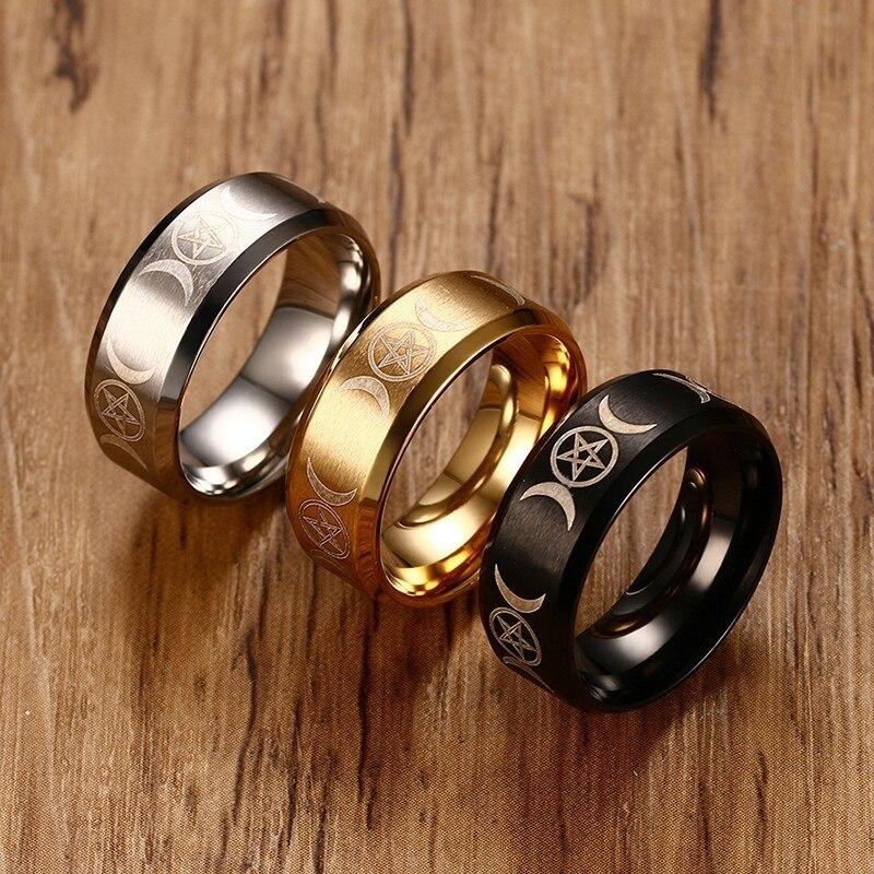 Мужское кольцо с тройной богиней Vnox, 8 мм, нержавеющая сталь, звезда и луна, Классический повседневный мужской браслет, ювелирное изделие, Размер 7, 8, 9, 10, 11, 12