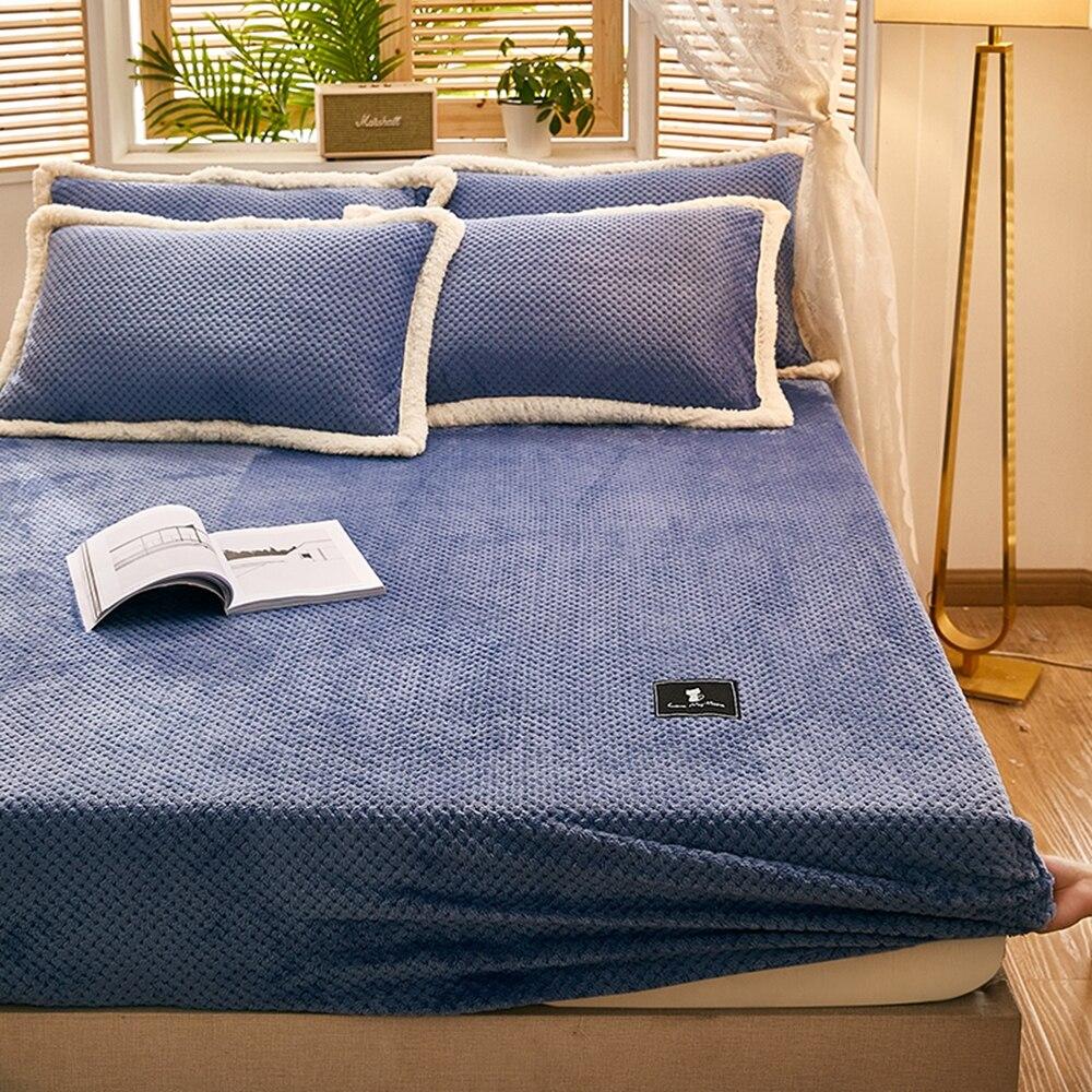 ملاءات سرير من الفلانيل بلون أزرق للشتاء دافئ من القطيفة مزودة بملاءة ناعمة من الكشمير والمنك غطاء مرتبة من نسيج مرن
