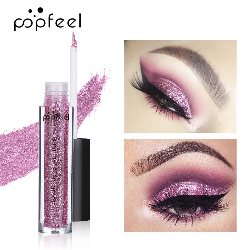 POPFEEL-pigmento de sombra de ojos, purpurina, 12 colores, resistente al agua, polvo de sombra de ojos, brillo metálico y brillo líquido, 23g