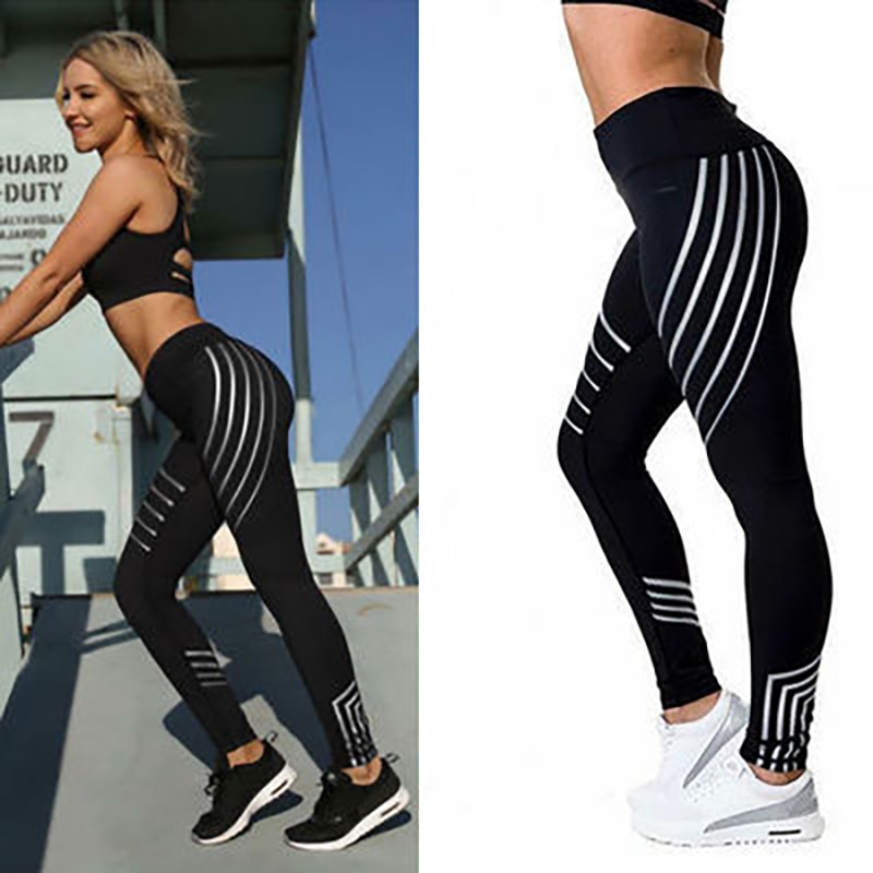 Stripe Yoga Pants Women Push Up Professional Running Fitness Gym Sport Leggings Tight Trouser Pencil Legging Sport femme NVYJ77