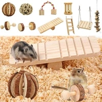 10pcs bunny chew toys set small animal pigs hamster toy natural wooden hamster toys for chinchilla hamsters parrot rabbit pets