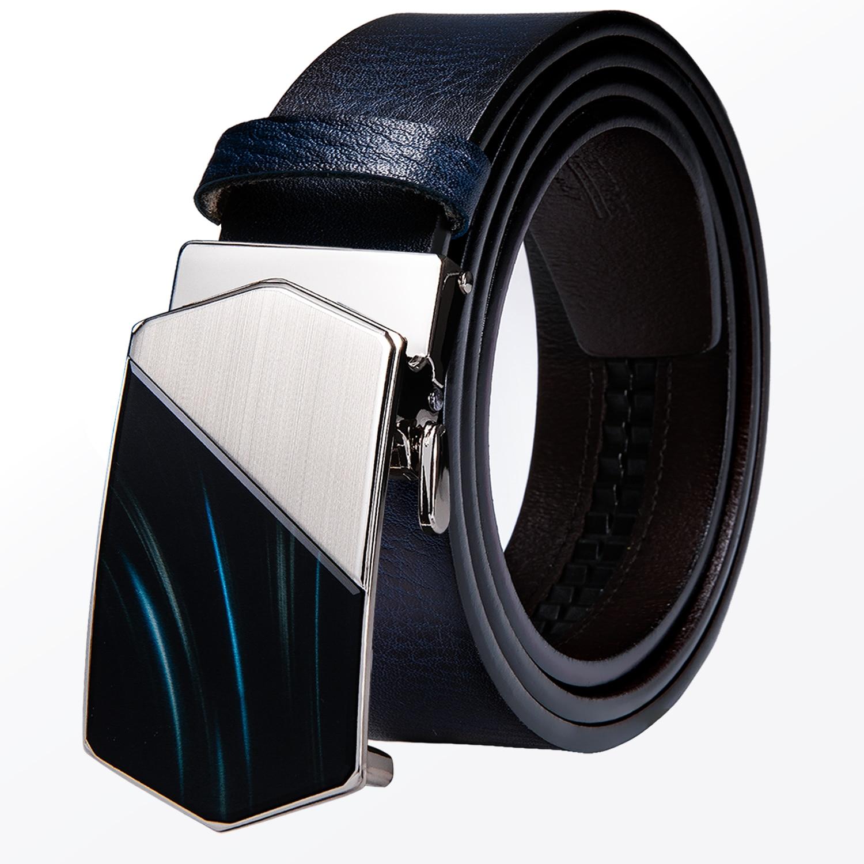 Italian Dark Blue Genuine Leather Mens Belts Men Belt Automatic Buckles Ratchet Waist for Dress Jeans Straps Removable Fashion