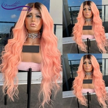 Omber Pink Colored Frontal Wig Brazilian Wave Lace Front Human Hair Wigs For Black Women 13x4 Lace F