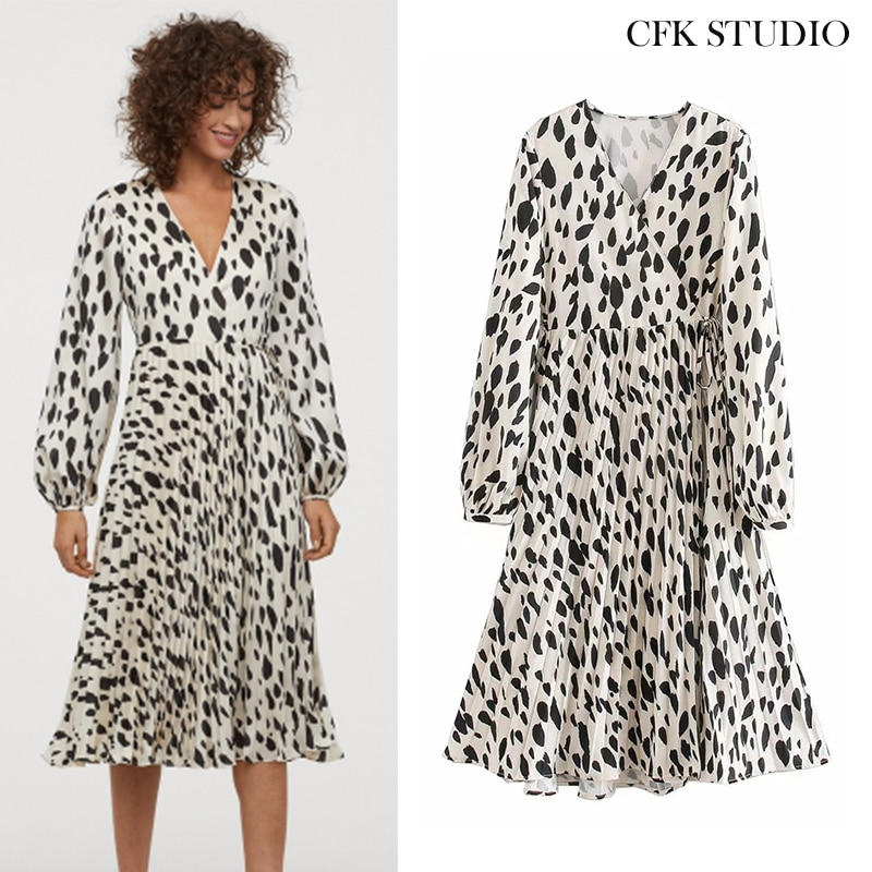 Za 2020 New Summer Women Mididress with V-neck Dot Print Ruffles Long Sleeve Elegant Dress Femme Loose Midi Dress Vestido