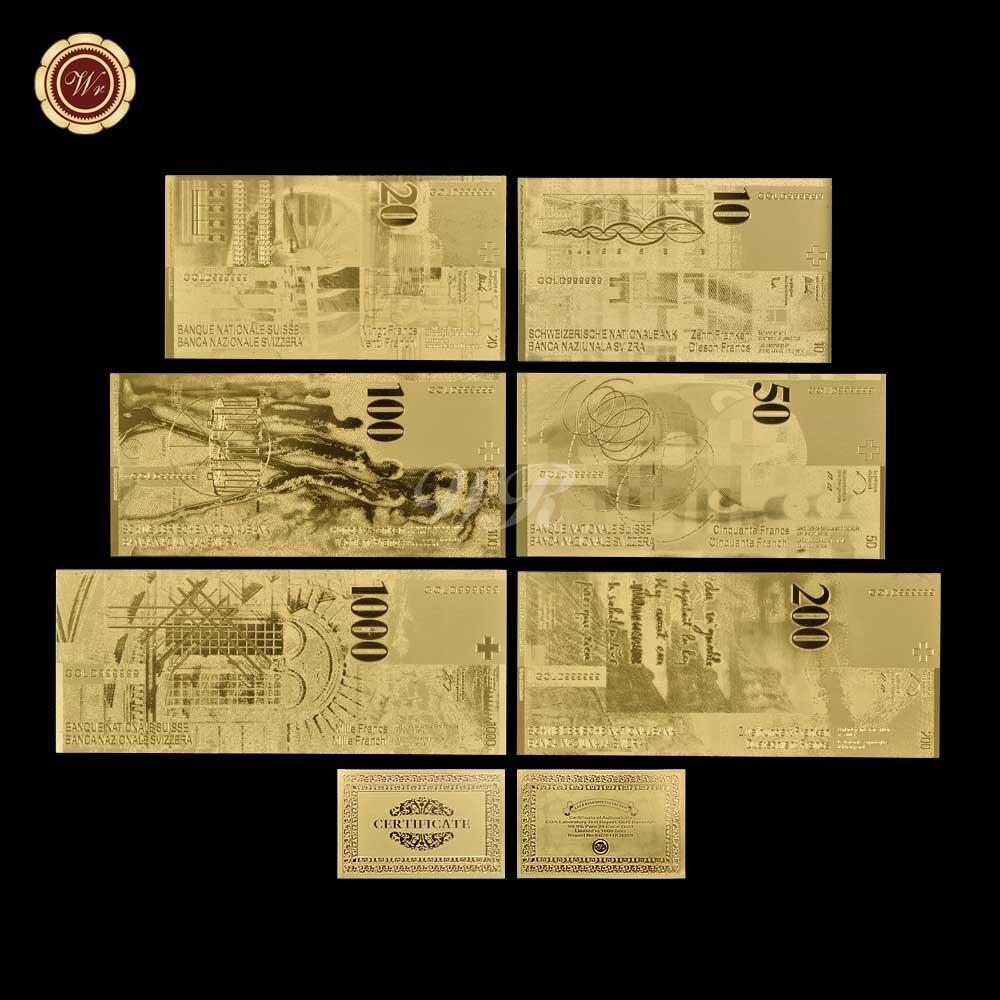 WR 6 шт./лот, золотые швейцарские банкноты с рамкой, серебряные фальшивые банкноты, коллекция банкнот, подарочный сертификат, Прямая поставка