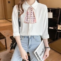 new womens white chiffon blouse female plus size loose short sleeve bow shirts lady simple style tops clothes 2021