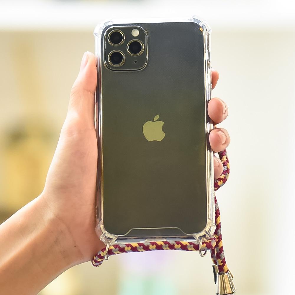 Correa de Airbag teléfono caso para iPhone 11 Pro Max SE 2020 cinta collar de cordón colgar caso para iPhone XR XS Max X 7 7 6 6S Plus