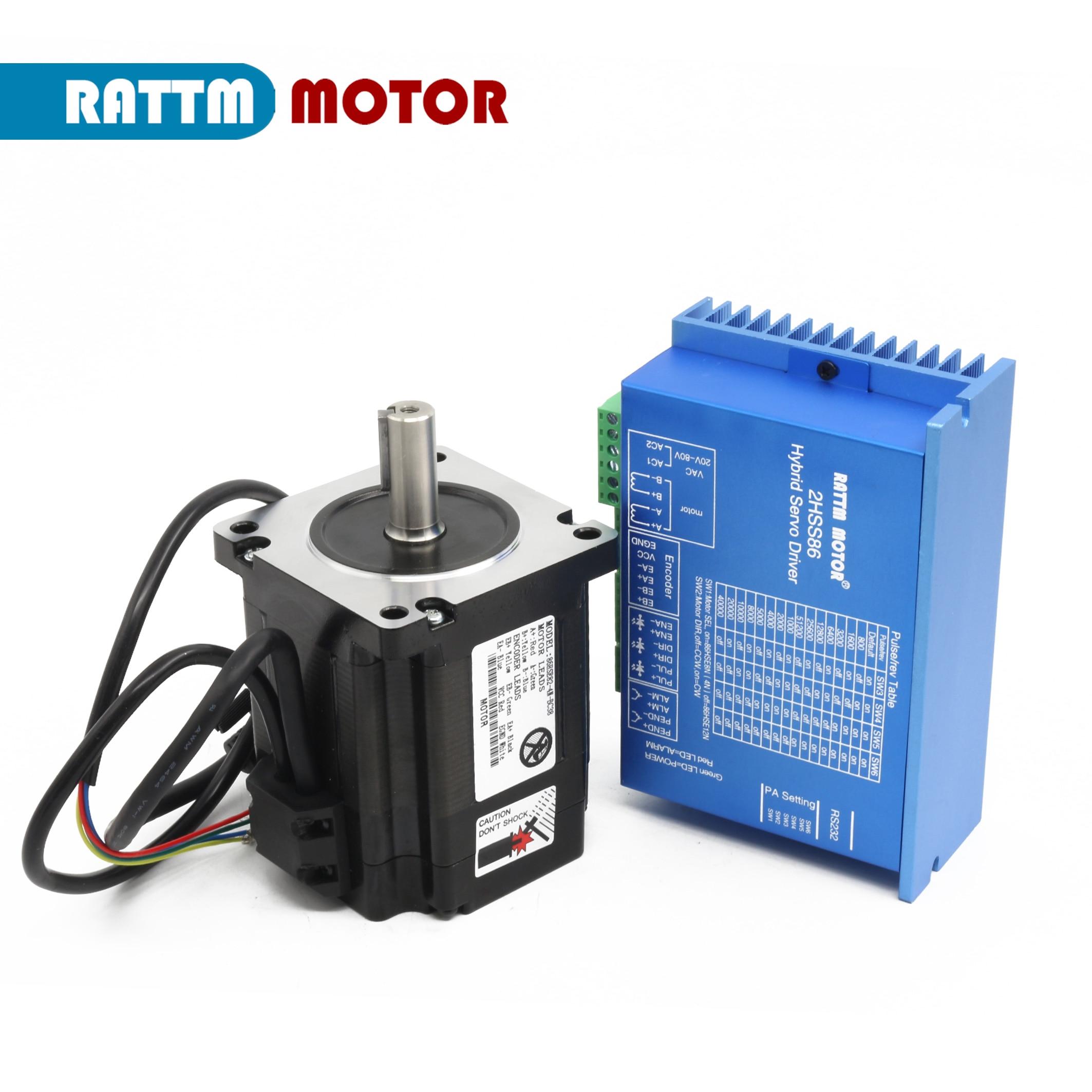 1 conjunto nema34 4n. m circuito fechado servo motor 6a 82mm + 2hss86h 70vac 2 fase híbrido passo-servo driver 8a cnc controlador kit