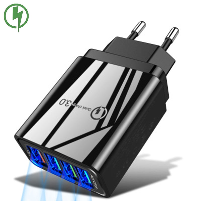 General Qc3.0 4 Port USB Charger 5V/3A Mobile Phone Accessories Smart Charging Head For IPhone Xiaom