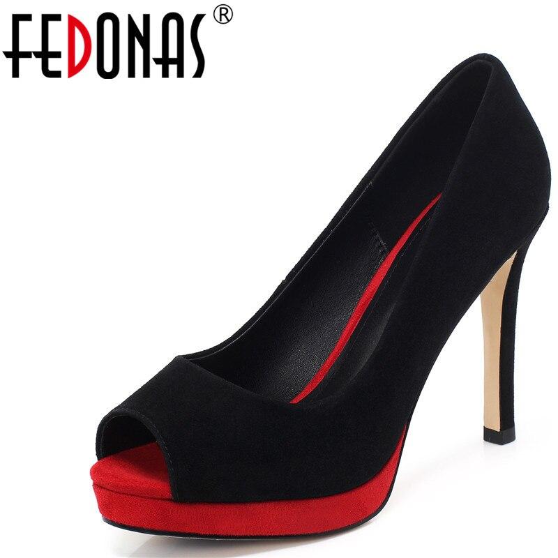 Fedonas couro genuíno salto alto bombas 2020 primavera verão peep toe sapatos femininos famale noite clube festa sapatos de qualidade mulher