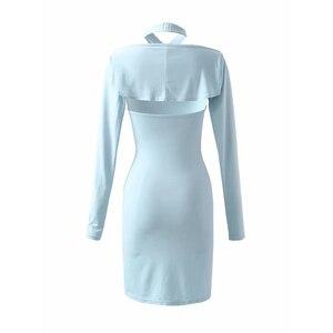 Sexy HalterNeck LongSleeve Mini Cami Dresses DLQZ1596