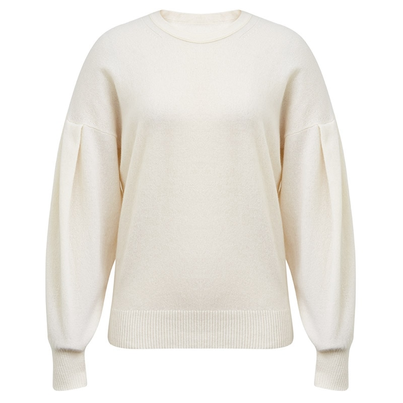 Tailor Shop Custom Made All Cashmere Round Neck Pure Cashmere Sweater Women's Puff Sleeve Pullover Sweater enlarge