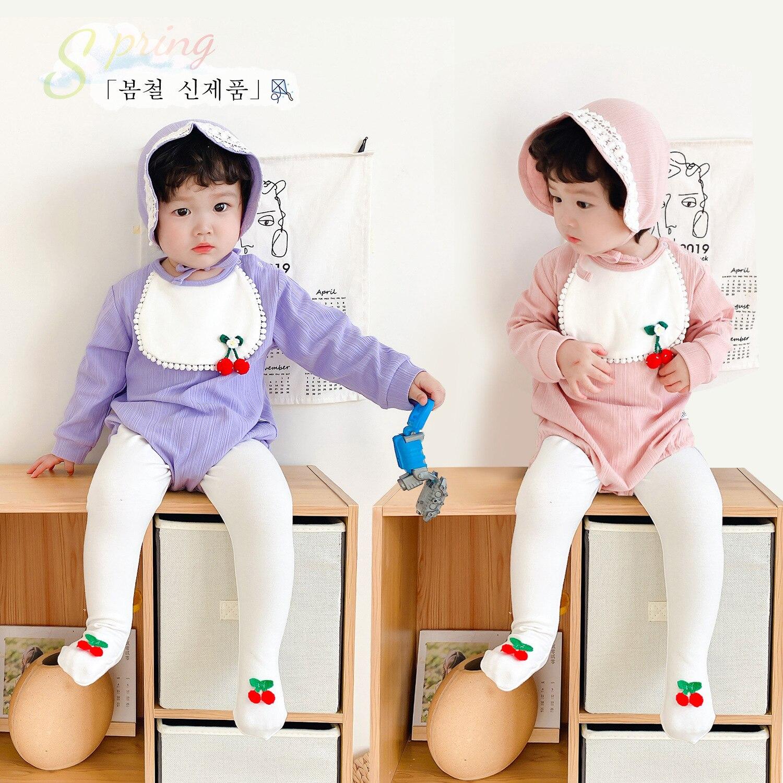 Enzo 2020 primavera bonito estilo princesa babadores para meninas do bebê cereja 3-6 meses bebês estilo ocidental enviar boné