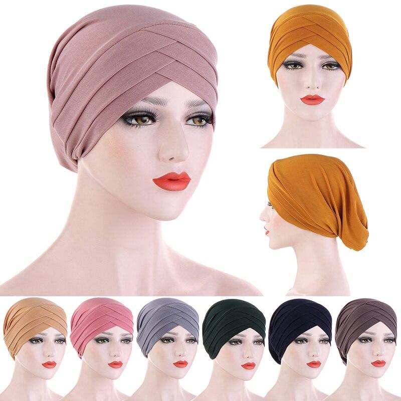 Мусульманский хиджаб, шарф, Женский Внутренний тюрбан, раньше, перекрестная повязка на голову, тюрбан, повязка для волос, мусульманский голо...