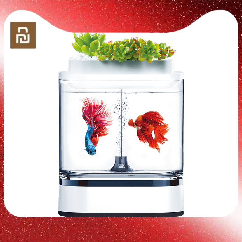 Mijia-خزان أسماك صغير هندسي ، تنظيف ذاتي مع شحن USB ، مصباح LED بـ 7 ألوان ، للمنزل والمكتب