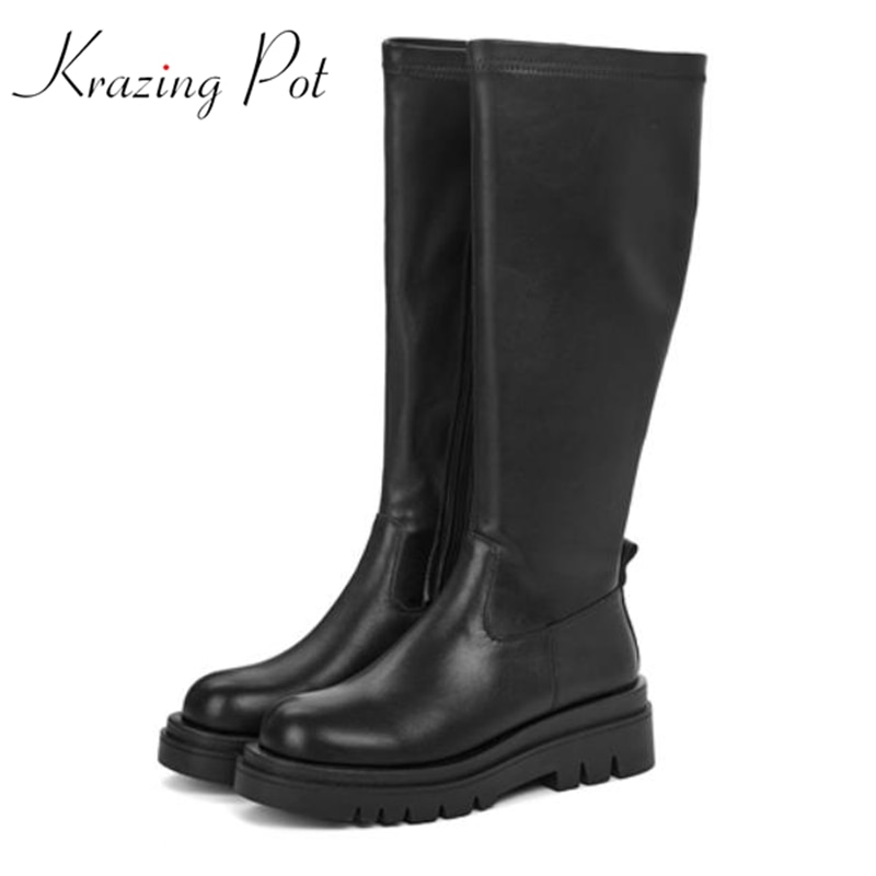 Ботинки Krazing pot из бычьей кожи в стиле ретро с круглым носком, зима 2021, красивые зимние ботинки на среднем каблуке, оригинальный дизайн, высок...