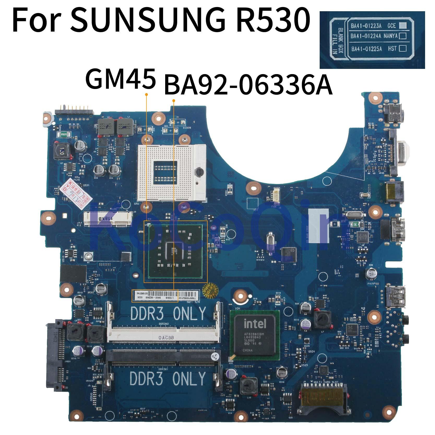 Kocoqin placa-mãe do portátil para sunsung NP-R530 r530 mainboard BA41-01223A BA92-06336A gm45