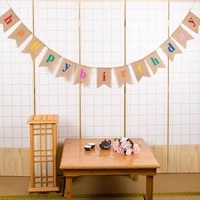 13pcs happy birthday banner garland decoration rustic burlap bunting banner for birthday party decoration