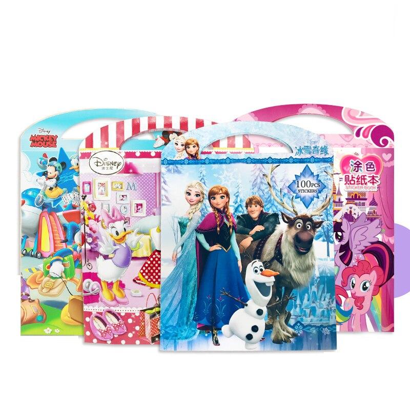 Disney congelado mickey minnie crianças adesivos livro quebra-cabeça artesanal adesivo para crianças dos desenhos animados etiqueta pegatinas autocollant enfant