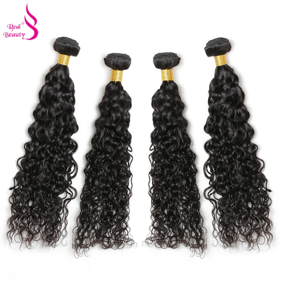 Real Beauty Peruvian Water Wave Bundles 100% Human Hair Weave Bundles Extensions 1PC Can Buy 3/4 Bundles Remy Hair