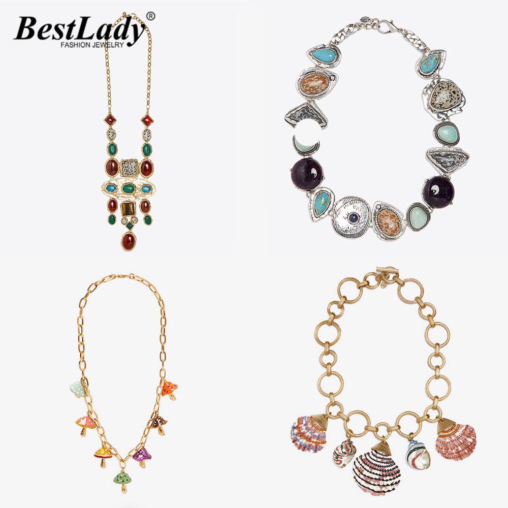 Melhor senhora do vintage za esmaltado pedra colares para mulher elegante concha toadstool gargantilhas acessórios colares jóias por atacado