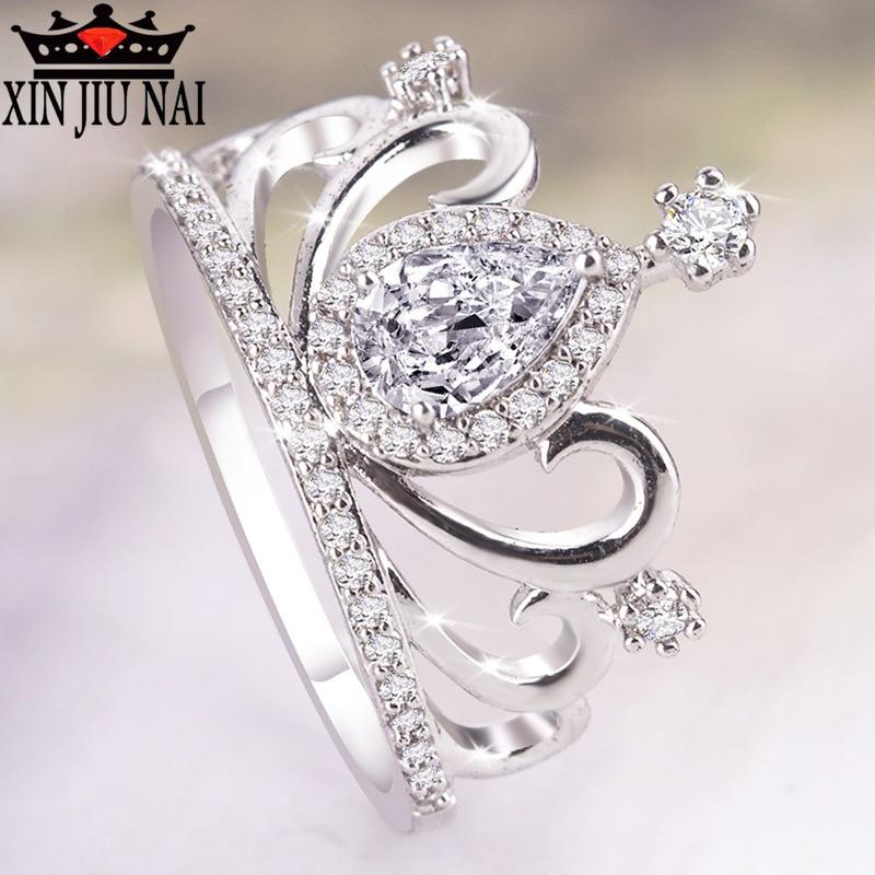 2019 NOVA Alta qualidade big zircon Crown Royal Princess temperamento anel top quality jóias presente de noivado aniversário da menina