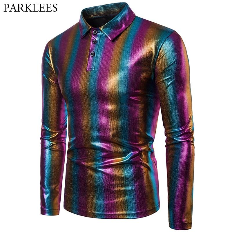Polo de rayas del arco iris brillante para hombre, camiseta de moda brillante para discoteca para hombre, ropa informal ajustada para hombre, polos de fiesta para hombre